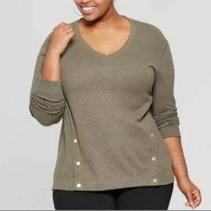 AVA & VIV Olive V-Neck Long Sleeve Pullover Top
